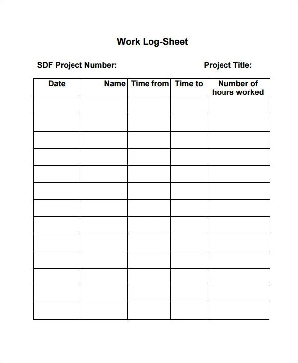 Work Log Template \u2013 7+ Free Word, Excel, PDF Documents Download - time log template