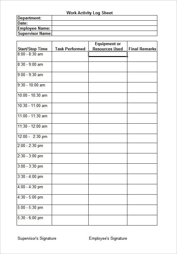 Work Log Template \u2013 7+ Free Word, Excel, PDF Documents Download