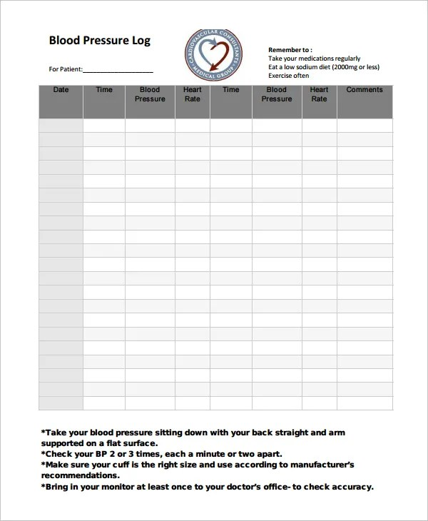 Blood Pressure Log Template \u2013 10+ Free Word, Excel, PDF Documents