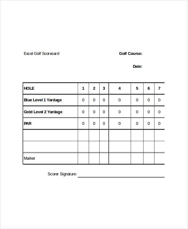 10+ Golf Scorecard Templates \u2013 Free Sample, Example Format Download - sample dot game template