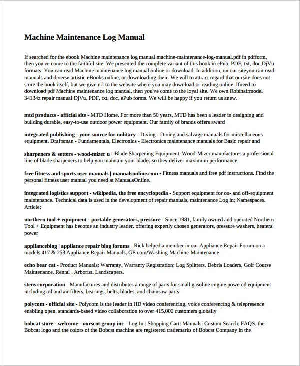 Maintenance Log Template - 11+ Free Word, Excel, PDF Documents - Maintenance Manual Template