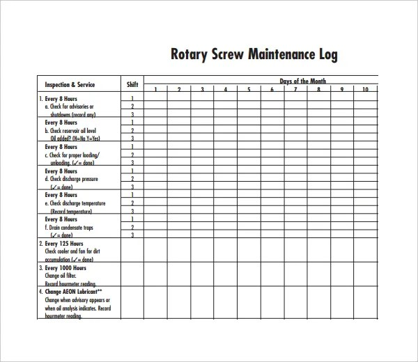 Maintenance Log Template - 11+ Free Word, Excel, PDF Documents