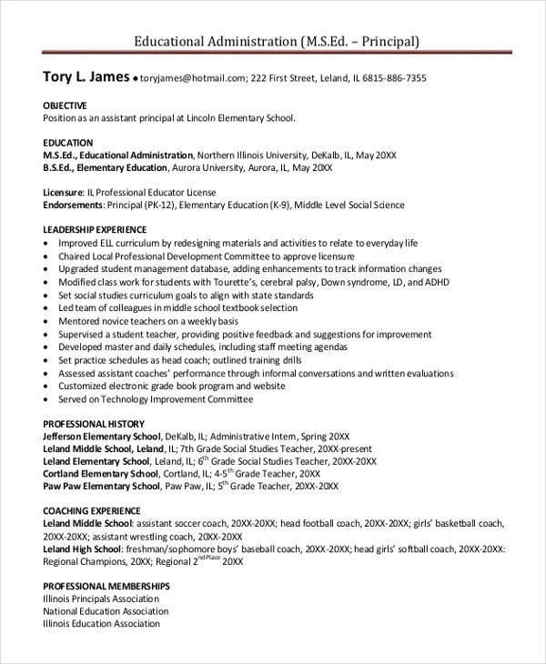 Principal Resume Template - 5+ Free Word, PDF Document Downloads - sample principal resume