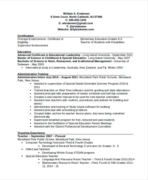 sample principal resume - Eczasolinf - sample principal resume
