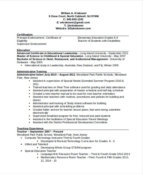 sample resume for school principal position