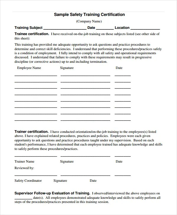 Safety Certificate Template - 9+ Free Word, PDF Document Downloads