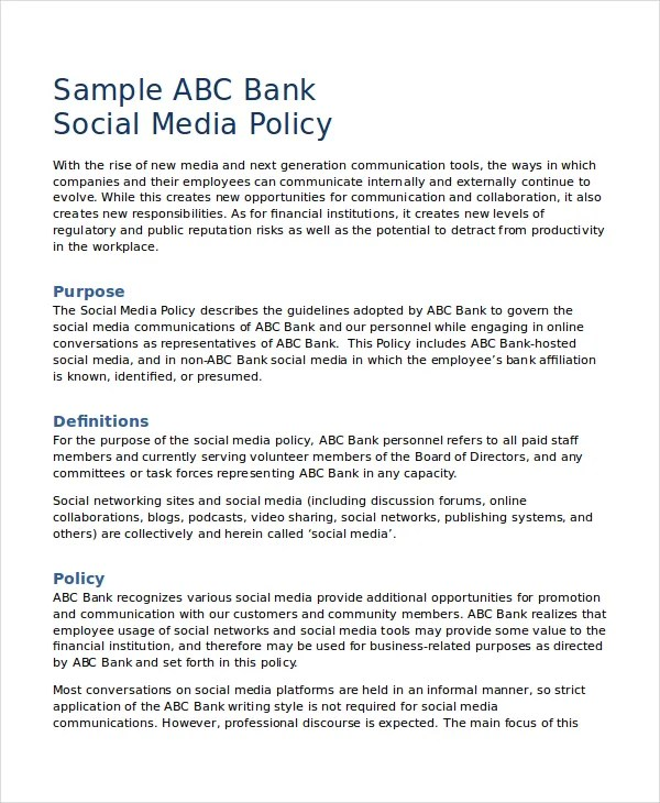 Social Media Policy Template - 8+ Free Word, PDF Document Downloads