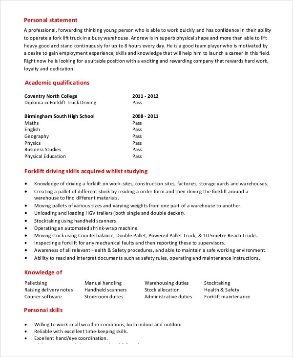 6+ Forklift Resume Templates - PDF, DOC Free  Premium Templates