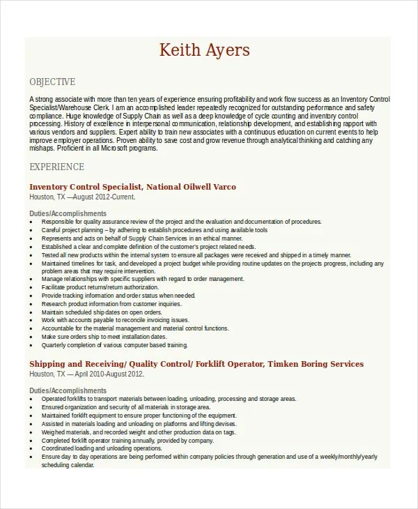 forklift experience on resume