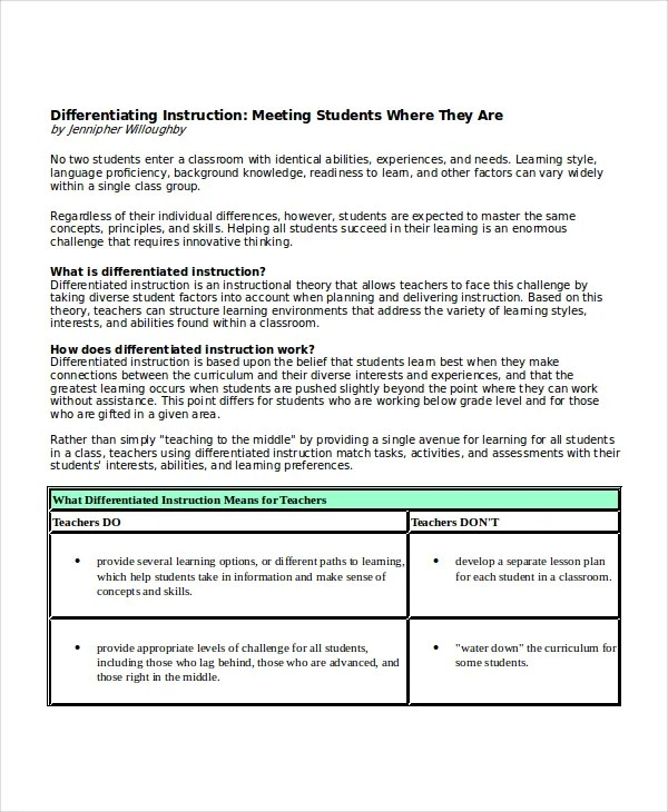 Differentiated Instruction Lesson Plan Template Cvfreeo