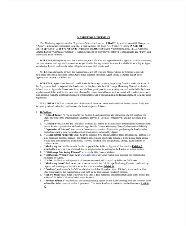 Marketing Contract Template \u2013 8+ Free Word, Excel, PDF Documents