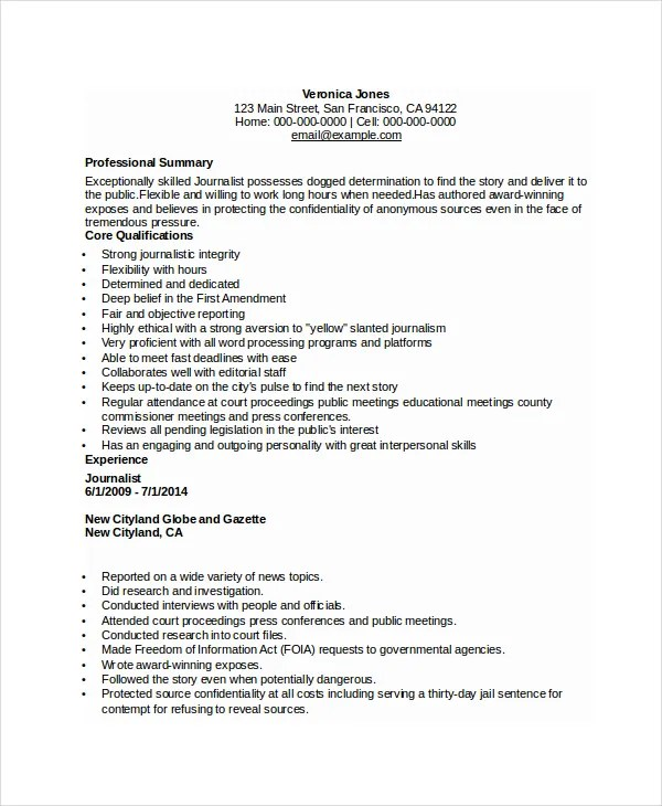 Journalist Resume Template - 5+ Free Word, PDF Document Download