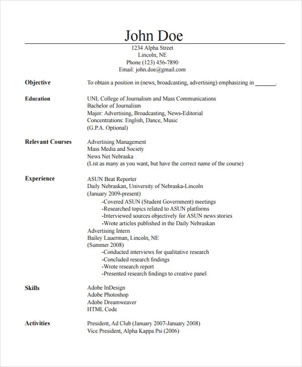 Journalist Resume Template - 5+ Free Word, PDF Document Download - journalism resume template