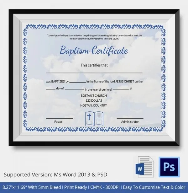 21+ Sample Baptism Certificate Templates - Free Sample, Example