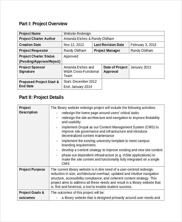 8+ Project Charter Templates - Free Sample, Example, Format Download - project charter template