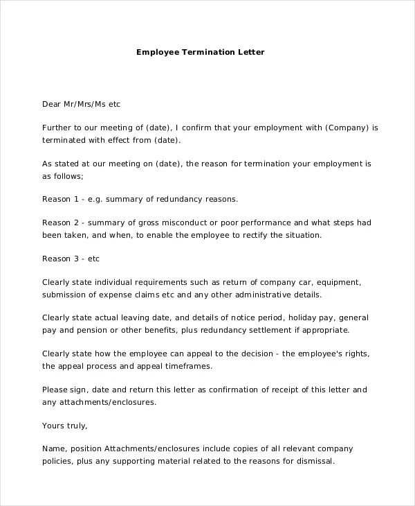 Termination Employee Letter - Letter Idea 2018 - employee termination form