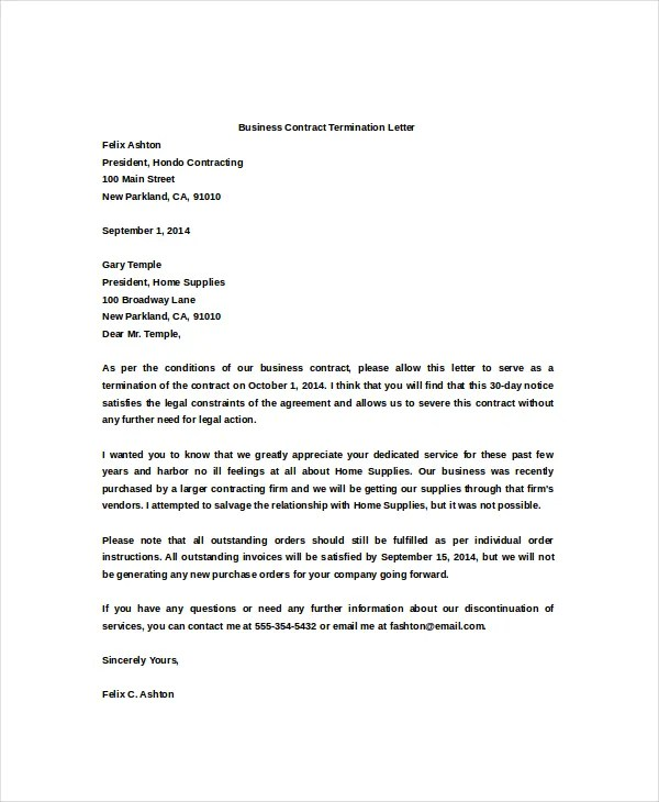 doc 529684 termination letter template word free