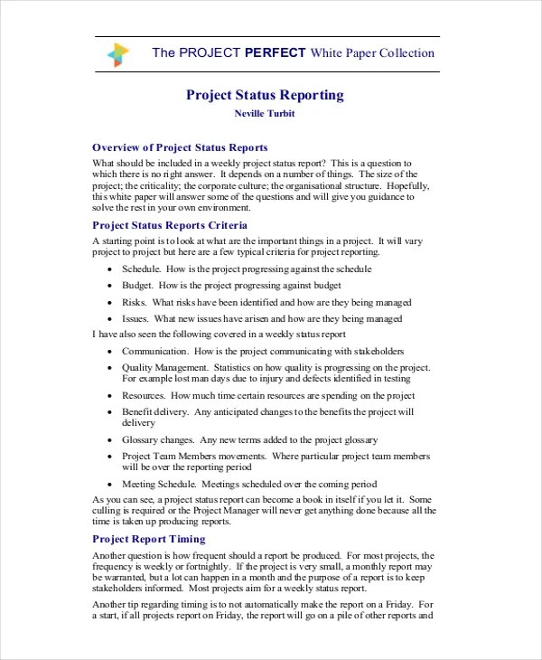 17+ Project Report Templates - Free Sample, Example Format, Download