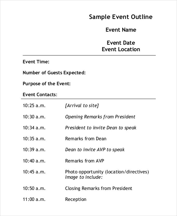 event outline template - Ozilalmanoof