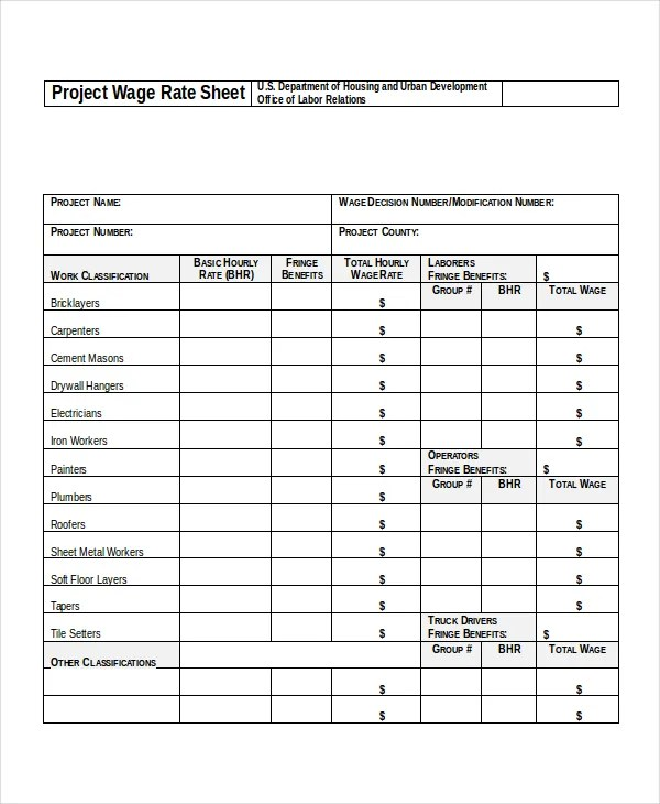 Rate Sheet Template - 14+ Free Word, Excel, PDF Document Download