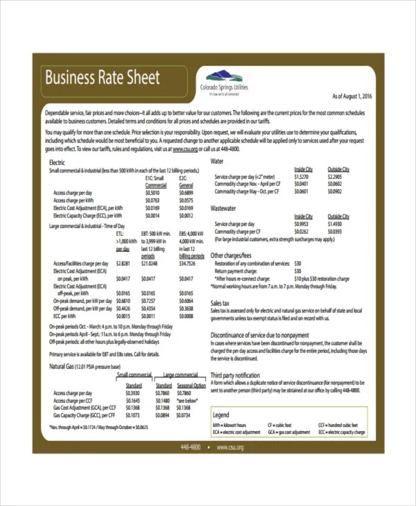 Rate Sheet Template - 14+ Free Word, Excel, PDF Document Download - rate sheet template