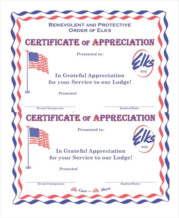 27+ Certificate of Appreciation Templates - PDF, DOC Free - Example Of Certificate Of Service