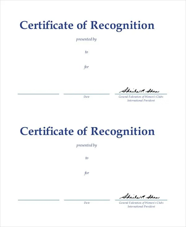 20+ Certificate of Recognition Templates - Free Sample, Example - Examples Of Certificates Of Recognition