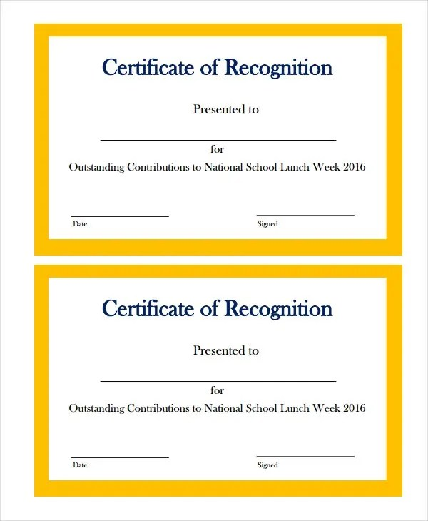 19+ Certificate of Recognition Templates - Free Sample, Example - sample school certificate