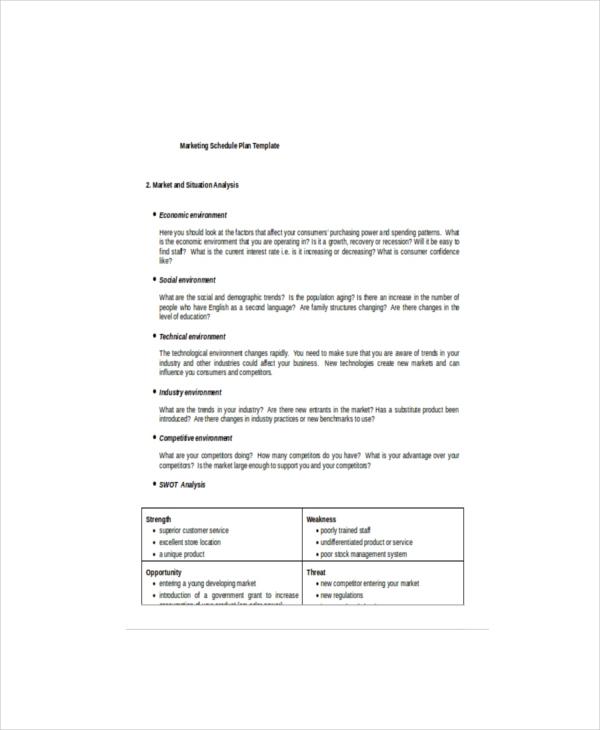 7+ Marketing Schedule Templates \u2013 Free Sample, Example, Format - sample marketing schedule