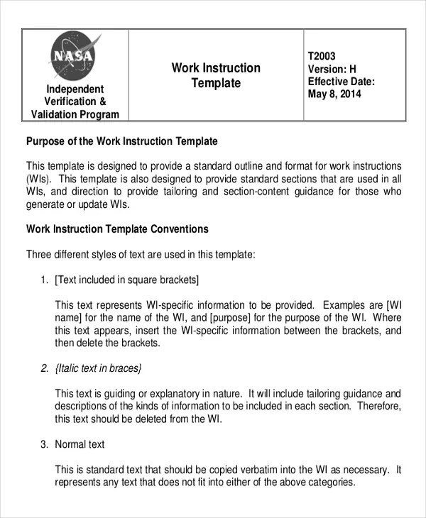 work instruction template word - Boatjeremyeaton - instructions template word