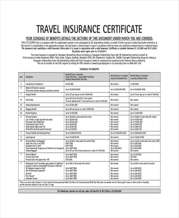 Insurance Certificate Template \u2013 10+ Free Word, PDF Documents - Certification Document Template