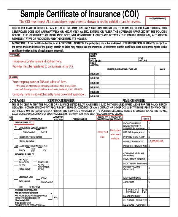 Insurance Certificate Template \u2013 10+ Free Word, PDF Documents - auto insurance template