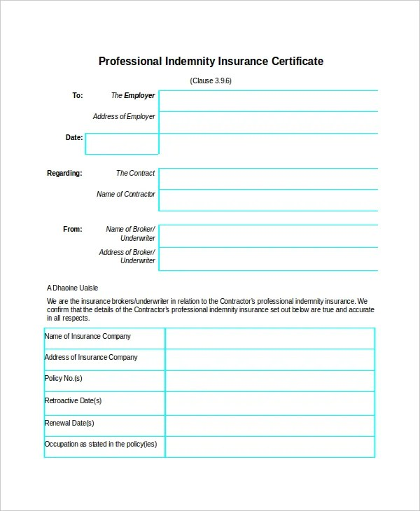 Insurance Certificate Template u2013 9+ Free Word, PDF Documents - indemnity form template