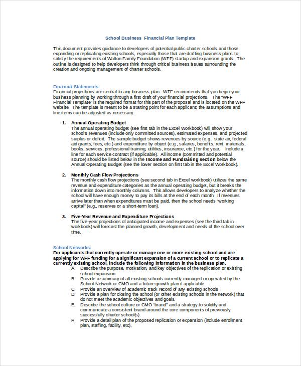 financial summary template