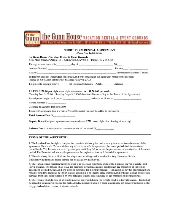 Perfect Sample Vacation Rental Agreement Template Component - Best