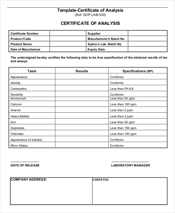 7+ Certificate of Analysis Template - Word , Google docs , Apple