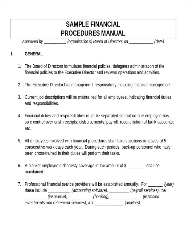 Sample Operations Manual Template Operating Manual Template Sample