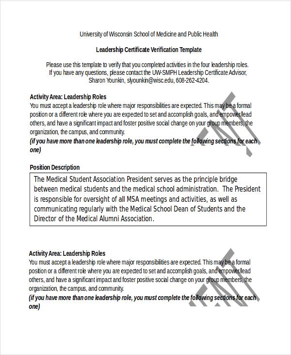 Leadership Certificate Template - 11+ Word, PDF, PSD Format Download
