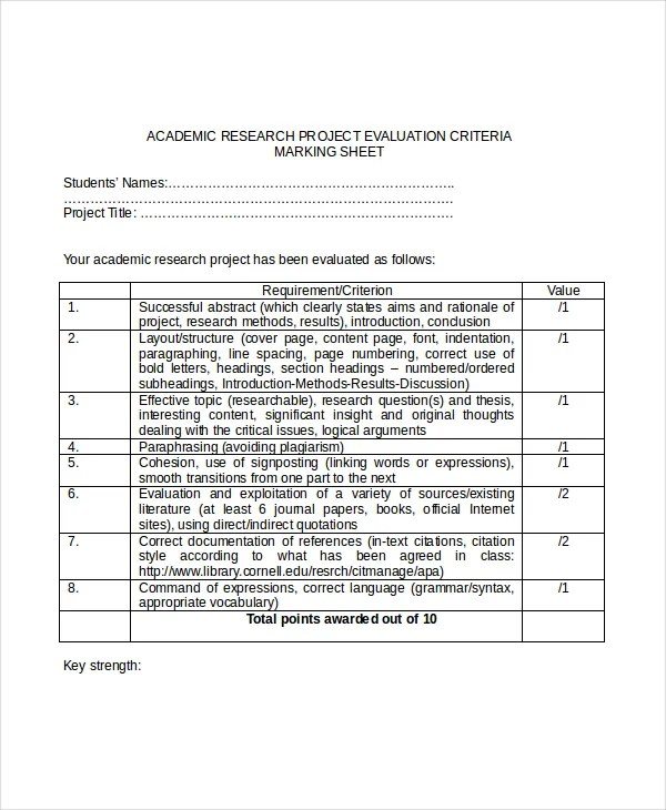 Project Evaluation Template - 7+ Free Word,PDF Documents Download - project evaluation