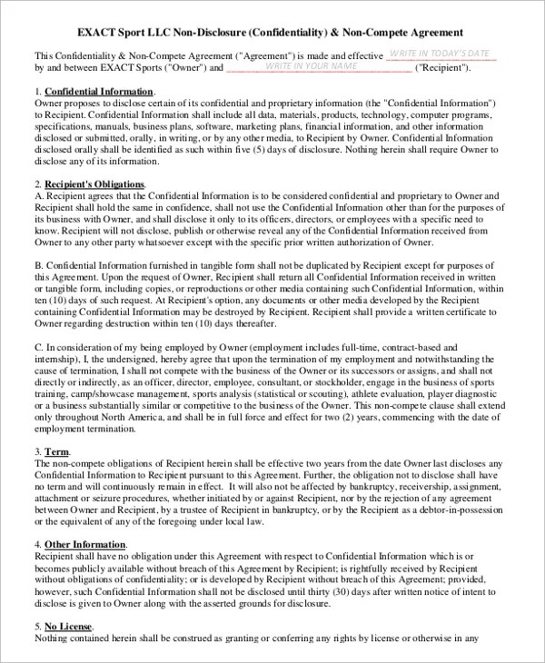 11+ General Non-Compete Agreement Templates - Free Sample, Example - business non compete agreement