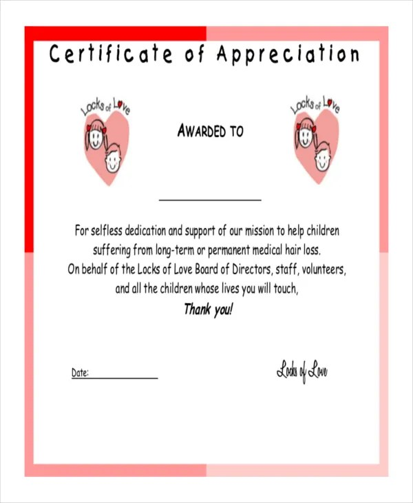 Certificate of Appreciation Template - 24+ Free Word, PDF, PSD - Certificate Of Appreciation Words