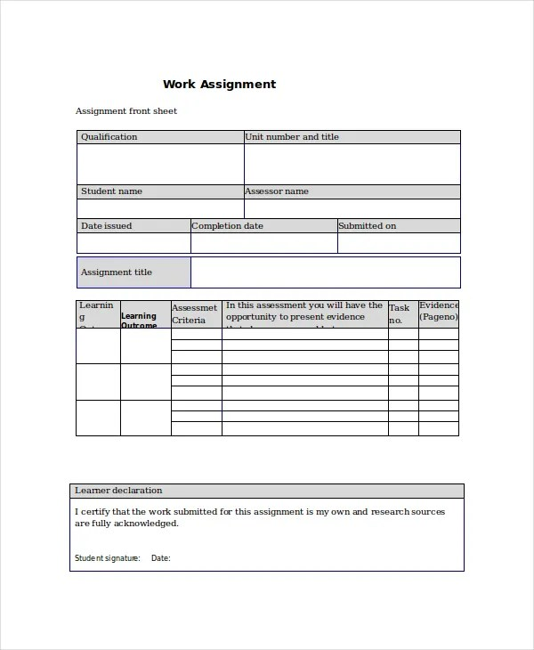Project Assignment Template - 4+ Free Word, PDF Documents Download - assignment sheet template