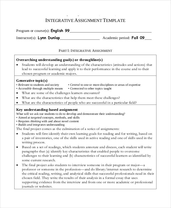 Project Assignment Template - 4+ Free Word, PDF Documents Download