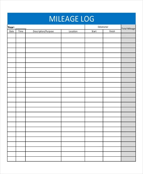 mileage log template - Basilosaur