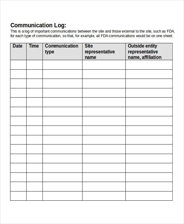 13+ Log Templates - Free Sample, Example, Format Free  Premium