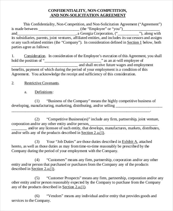 11+ Business Non-Compete Agreement Templates - Free Sample, Example