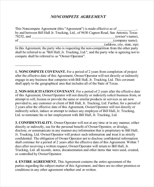 11 Business Non Compete Agreement Templates Free Sample