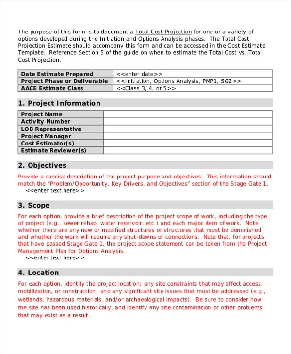 Project Estimate Templates - 7+ Free Word, PDF Documents Download - project estimate template