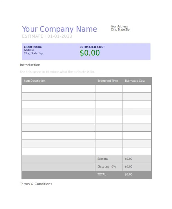 Project Estimate Templates - 7+ Free Word, PDF Documents Download