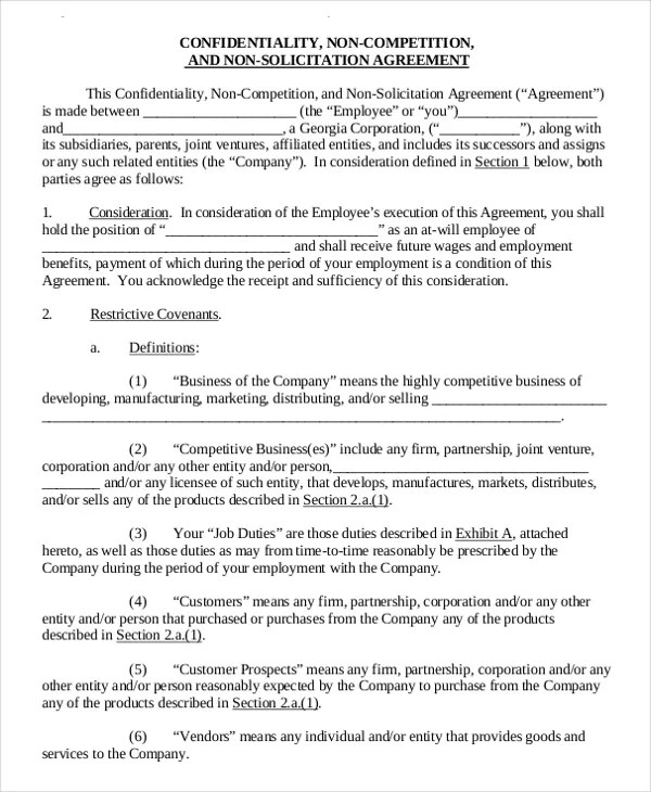 11+ Standard Non-Compete Agreement Templates - Free Sample, Example - non compete agreement template